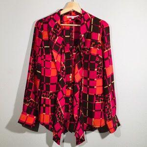 Trina Turk | Silk Button Front Blouse Pink Brown M